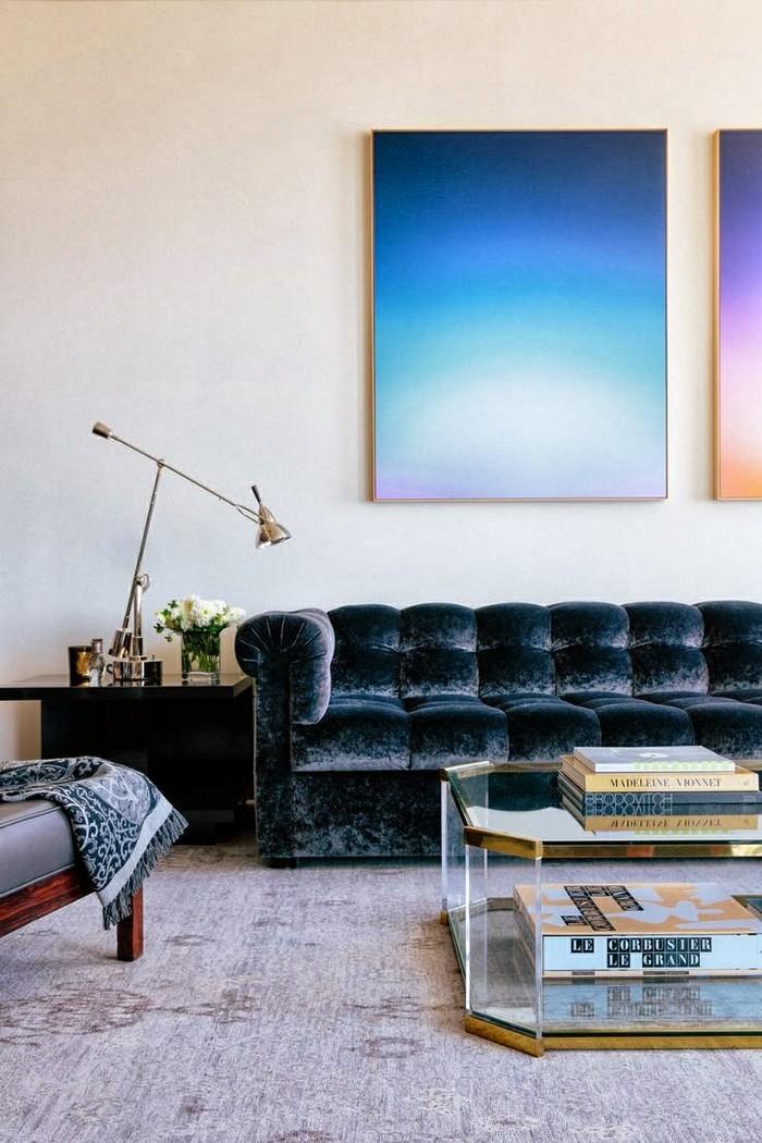 modern sofa blue velvet