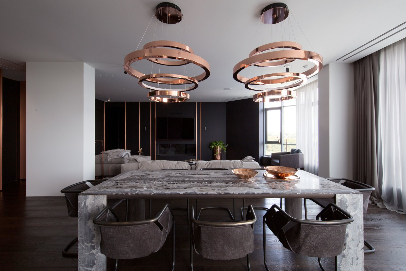 Deep grays and copper accents-dining room